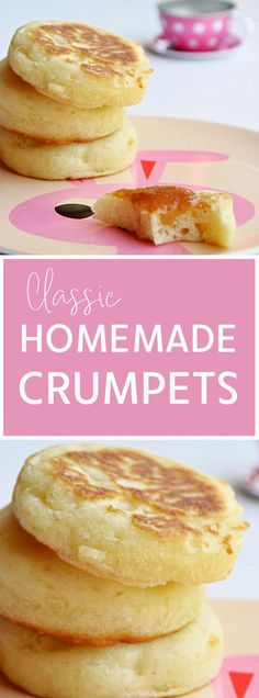 Classic Homemade Crumpets, just like store bought with plenty of air bubbles perfect for soaking up butter, honey and jam! Pancake Recipes, Muffin Recipes, My Recipes, Cooking Recipes, Favorite Recipes, Bread Recipes, Vegan Recipes, Homemade Crumpets, Cloud Bread