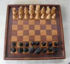 VINTAGE CHESS SET (Not Board) in Original Wooden Box Ebony and Boxwood Semi-Gloss Patina Light Weight Complete Set French Mid 1900's by OnceUpnTym on Etsy