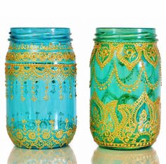 Moroccan Designed Mason Jar Lantern, Teal Glass with Gold Detailing. $28.00, via Etsy.