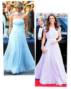 Princess Diana chose this strapless chiffon dress by Catherine Walker in 1987 for the Cannes Film Festival (and again to the 1989 London opening of Miss Saigon!). Kate wore a similar look when she made an appearance at the BAFTA 'Brits to Watch' event in a pale lavender Alexander McQueen gown.
