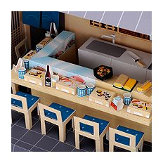 Doll House sushi's (kitchen counter fresh fish cupboard chair sushi raised beer bottle hot sake masu sake eggs baked Obanzai) free material download | Paper Museum