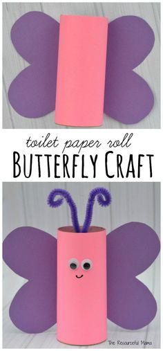 Reuse paper rolls to make this toilet paper roll butterfly craft. Kids can make them as a craft for Valentines Day, spring, summer, or a butterfly unit.