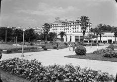 Vista do jardim, com o Hotel Palácio em plano de fundo. Fotografia sem data. Produzida durante a actividade do Estúdio Mário Novais: 1933-1983.  [CFT003 005155.ic]