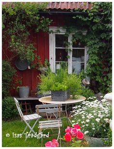 Swedish Cottage, Red Cottage, Swedish House, Garden Cottage, Scandinavian Cabin, Swedish Style, Garden Painting, Backyard, Patio