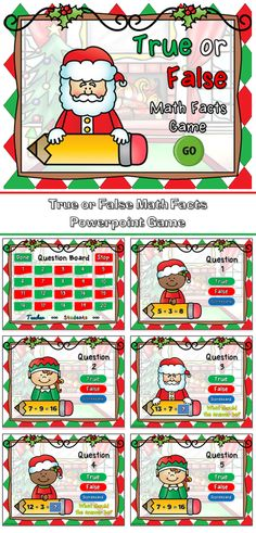 Identify true or false math facts with this fun Christmas themed powerpoint game. Students must identify whether a math addition fact is true or false. If false, the students must provide the correct answer.
