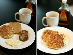 Healthy but delicious banana pancakes!  No added sugar, little flour.  I may have to try this one to believe it.