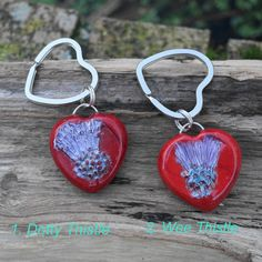 Key Ring Pendant Polymer Clay Large Red Valentine by ShooglyBeads, £5.00