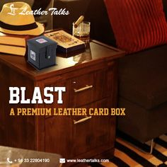 This high quality BLAST playing card case is constructed from fine leather and is uniquely designed like a cute little box and can store three pack of cards. Also serves as a desktop accessory. #uniquegift #leatherbox http://leathertalks.com/product/blast/