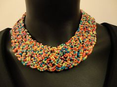 Handwoven Multi-Color Beads Necklace by OMyGlam on Etsy