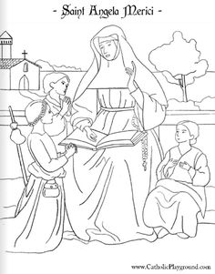 saint angela merici coloring page, feast day is january 27th