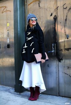 NJ & that fab duffle'y combo. NYC. #NatalieJoos #AllThePrettyBirds