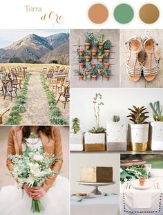 Natural Earthy Wedding Inspiration in Sophisticated Rustic Shades of Terra Cotta, Matte Gold, and Green via /heyweddinglady/  | See More! http://heyweddinglady.co...