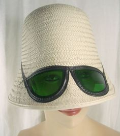Vintage 1960s Bucket Sun Hat Sunglasses White Straw Mod Retro Mad Men  1f263662b87f
