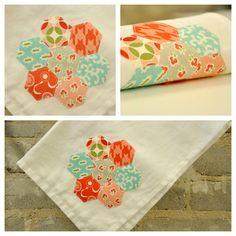 Hexagon tea towel. Showcases Bonnie and Camille fabrics, vintage modern.  #quilt #moda
