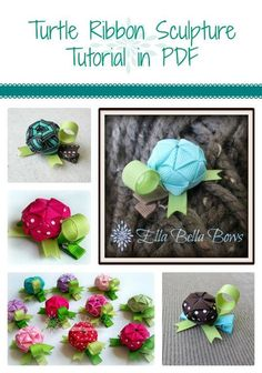 Turtle Ribbon Sculpture Tutorial pattern from Ella Bella Bows