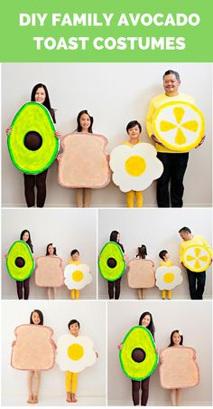 Get the DIY to make these cute avocado, toast, egg, and lemon costumes. Cute siblings costumes or maternity pregnancy costume (Avocado). Food Costumes, Homemade Costumes, Diy Costumes, Costume Ideas, Group Costumes, Family Halloween Costumes, Halloween Projects, Halloween Crafts, Halloween Ideas
