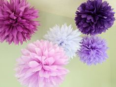 Imperial Purple - 5 Tissue Paper Pom Poms - Decoration Shades of Plum Purple DIY Decor kit