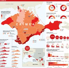 Crimea is multi-ethnic, multi-lingual, the scene of battles and desperate last defences, and it has been used as a political football. This map shows how it compares to Ukraine and the strength of both Ukraine and Russia in the disputed region