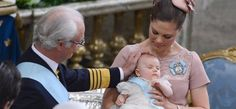 Proud grandfather, King Carl XVI Gustaf, Crown Princess Victoria at Princess Estelle's Christening on 22 May 2012.        Swedish Royal Court / Sveriges Kungahus