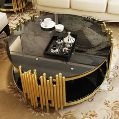 Royal Furniture, Luxury Home Furniture, French Furniture, Furniture Design, Modern Dining Chairs, Modern Coffee Tables, Modern Table, Table Fountain, Stainless Steel Coffee Table