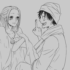 Vivi and Monkey D. Luffy #one piece