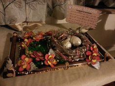 Garden themed thali / Goodie tray: sour punks used as straw in nest and lollipop flowers