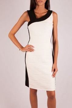 Joseph Ribkoff white skinny dress.  Find this and the jacket at Head to Toe