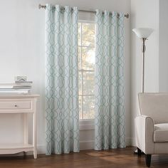 Newport Wave Light-Filtering Grommet Top Window Curtain Panel in Slate - Bed Bath & Beyond Family Room Curtains, Drapes Curtains, White Curtains, Window Panels, Window Coverings, Window Treatments, Living Room Redo, Living Room Designs, Newport