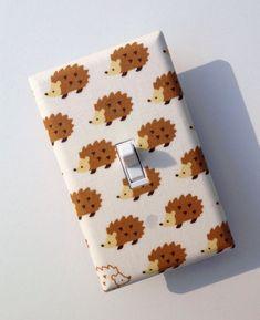 Light Switch Plate Cover / Hedgehog / Baby Nursery / Children Kids Room / Japanese Import Fabric. $10.00, via Etsy.
