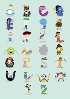 A to Z animated characters Art Print