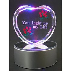 Valentines Day Lighted Glass Heart LED Color Changing Special Gift Men Women #LightedGlassHeartLED