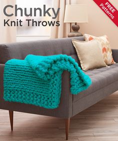 Chunky Knit Throws Free Patterns -- Chunky throws are all the rage! This collection of free knit throws patterns using sizes 5, 6, and 7 yarn won't take as long to knit as throws in thinner yarn, so you can snuggle up sooner.