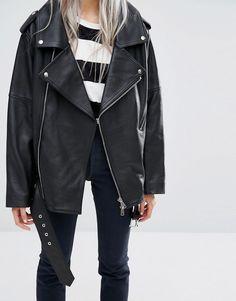 Image 3 of Weekday Press Pack Oversize Off the Shoulder Leather Jacket