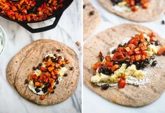 Freezer Breakfast Burritos with Sweet Potato Hash and Black Beans via Cookie + Kate.