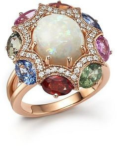 Rosamaria G Frangini | HighJewellery Classic | TJS | Diamond, Multi Sapphire and Opal Statement Ring in 14K Rose Gold