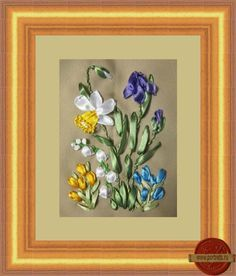 Spring flowers #ribbonEmbroidery
