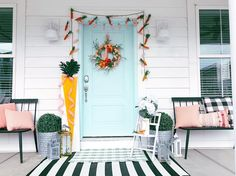 Colorful and Bright Spring Home Tour. Easy and inexpensive DIY ideas to bring COLOR into your home this Spring. Modern Cafe, Diy Spring Wreath, Front Rooms, Bright Spring, Spring Home, Formal Living Rooms, Porch Decorating, Decorating Ideas, Front Porch
