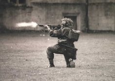 WW2 Photo. British Paratrooper with a Thompson SMG. Wearing Steel Studded  Hobnail Ammo Boots. We used these boots on/for parades because they made a cracking noise! But we used to slip and slide all over the place! How these men fought in them for so long, I will never know!
