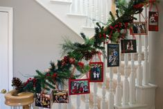 Great Idea:  Display your family's past Christmas card photos with a Photo Garland. Love this idea!  Wish I would have kept my past cards....