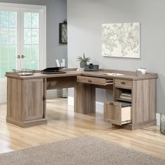 """With its """"L"""" shaped design and rustic oak finish, this eye-catching desk rounds out any space in sophisticated style. Top it with an antiqued table lamp to illuminate your work or pair it faux-leather office chair for a complementing look. Furniture Sale, Furniture Ideas, Home Office Design, Home Office Decor, Office Ideas, Desk Ideas, Ikea Office, Office Inspo, Haus"""