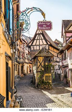 sign of the restaurant _auberge du rempart_ in the historic part of eguisheim, alsace, france - Stock Image