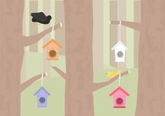 A free vector illustration of four birdhouses in a forest. Free Vector Illustration, Vector Art, Inspirational Wall Art, Birdhouses, Art Images, Vectors, Clip Art, Artist, Design