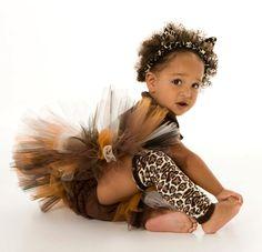Tutu Skirt - Leopard Cheetah Cat Halloween or Birthday Costume - Brown  Black - Fancy Feline - 12 Month to 2 Toddler Girl