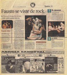 Articulo en El Tiempo Colombia sobre mi Ópera Rock Margarita y Fausto, la primera Ópera Rock Colombiana.