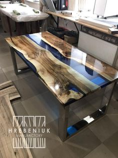 Epoxy Resin Dining Table Large kitchen table with river table | Etsy Epoxy Wood Table, Resin Table Top, Epoxy Resin Table, Slab Table, Walnut Table, Diy Epoxy, Wood Table Design, Dining Table Design, Dining Table In Kitchen