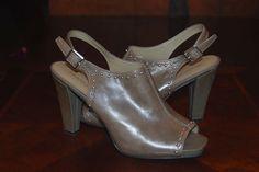 Franco Sarto Sandals Leather Studded Peep Toe Open Toe Sling Backs, Size 9.5 #FrancoSarto #OpenToe