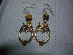 Owl earings gold plated earrings retro earrings by OriginalArtt