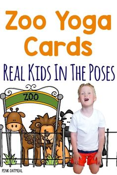 Kids yoga cards with a zoo theme!  I love how there are real kids doing the yoga poses and I love the zoo theme of the cards and printables!  Great for preschool gross motor and stations!