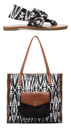 Geo Aztec Black and White Sandals + Purse Combo