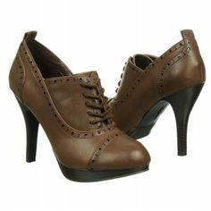 "Women's FERGALICIOUS NATASHA * CAREER POWER DRESSING * Brown. Faux leather upper in a dress oxford bootie style with a cap toe, 4"" heel."